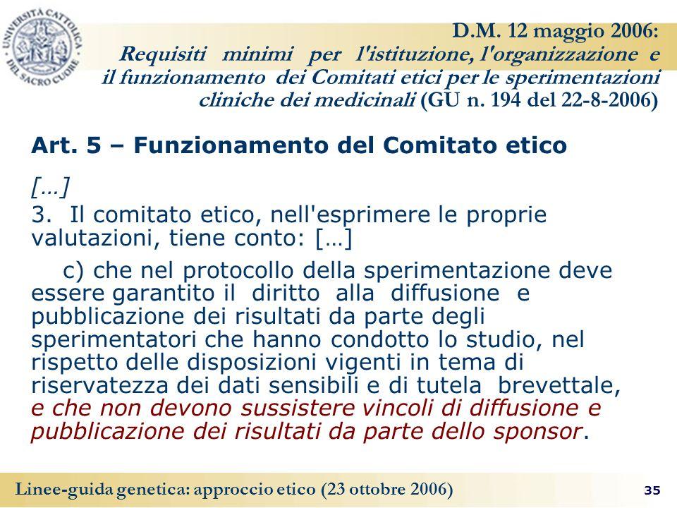 Art. 5 – Funzionamento del Comitato etico […]